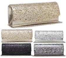 LADIES SEQUINED STITCHED METALLIC HANDBAG EVENING PARTY PROM PURSE CLUTCH BAG