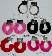 FURRY FLUFFY HANDCUFFS BLACK COLOURS FANCY DRESS HEN NIGHT STAG DO PLAY TOY NEW