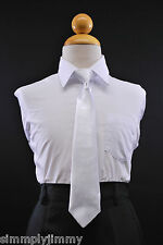 Boys Satin Clip on Long Neck Tie White matching Boy suit 8 10 12 14 (11 Colors)