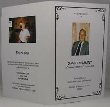 Personalised White Or Ivory Funeral Memorial Order Of Service With PhotographS