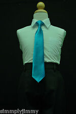 Boys Satin Clip on Long Neck Tie Turquoise matching Boy suit 8 10 12 14 11Colors