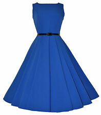 CLASSIC 50's VINTAGE AUDREY BLUE ULTRA FLARED SWING JIVE ROCKABILLY DRESS  8-20