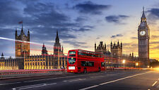 City of London / Red Bus - Framed Canvas Picture Print - 4 Sizes Available!