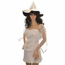 Sexy White Witch Ladies Costume Fancy Dress Halloween Party High Quality