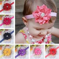 Rhinestone Flower Kid Baby Girl Infant Headband Hair Bow Band Satin Pearl Colors