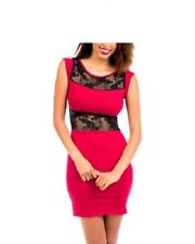 Women's Sexy Exotic Club Wear Party Contrast Red-Black Mini Dress, S, M, L