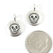 TierraCast Pewter Charms-SILVER ROUND SKULL 12x16mm (2)