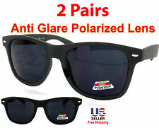 2PAIR ANTI GLARE POLARIZED LENS SOFT FLAT MATTE FINISH BLACK WAYFARER SUNGLASSES