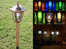 Solar LED Lights Copper Colored Garden Path Lighting Ground Stake Post 6 Pack