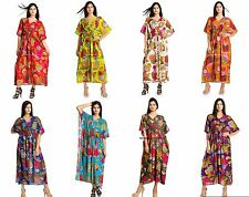 Women Cotton Beach Wear Casual Floral Printed Kaftan Boho Indian Maxi Dress