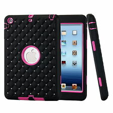 New Hard Armor Bling Crystal Rhinestone Case Cover For Apple iPad Mini 1 2 3