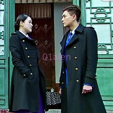 Mens Military Double Breasted Wool Blend Winter Jackets Chic Long Trench Coats