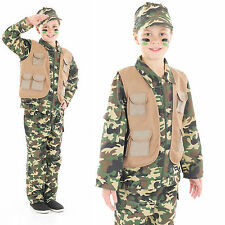 Childrens Desert Army Boy Fancy Dress Costume Camo Soldier Kids Outfit 4-12 Yrs