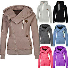 New Women Plain Zipper Zip Top Hoodie Hooded Sweatshirt Coat Jacket Pullover