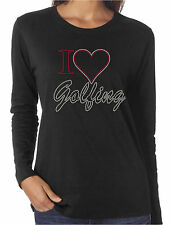 I Heart Golfing Love Rhinestone Women's Long Sleeve T-Shirts Sports