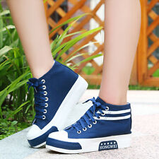 New Women Canvas Casual Shoes Wedges High Top Sneakers Lace Up Flats Loafer Size