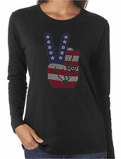 American Peace Sign Rhinestone Long Sleeve T-Shirts Patriotic 4th of July