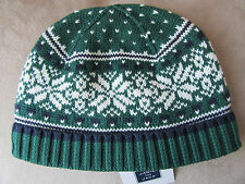 NWT Janie and Jack Boys Forest Green Fair Isle Sweater Hat Size 4-5