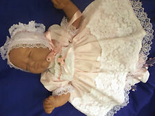 DREAM NB 0-3 3-6 MONTHS  BABY PINK VINTAGE  DRESS BONNET  OR REBORN DOLLS