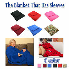 Sleeved Cuddle Blanket Throw Snuggle with Sleeves Snuggie TV Warm Fleece Pocket