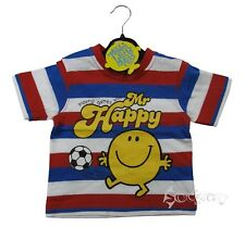 Boys Mr Men Happy Stripey T Shirt Top Ages 6-18 Months & 2-5 Years