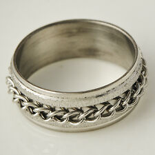 Mens Silver plated Stainless Steel punk link Eternity Band Ring Size 8 9 10 11