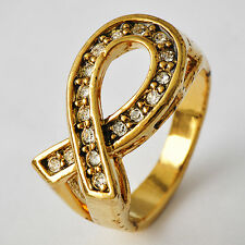 Fashion Jewelry Yellow Gold Filled Clear ball CZ Couple Vintage Ring Size 7-10
