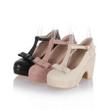 Women Bowknot High Heel Bowknot Lolita Faux Suede Leather T Bar mary Janes Shoes