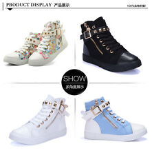 New Womens Zipper Lace Up Studded High Top Canvas Sneakers Walking Trainer Shoes