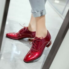 England Style Punk Women Girls Leather Shoes Lace Up Pointy Toe Roman Plus Size
