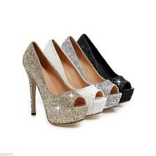 Fashion Women's Platform High Heels Peep Toes Sandals Pumps Sequined Shoes