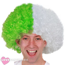GREEN AND WHITE AFRO WIG SUPPORTERS FANCY DRESS RUGBY FOOTBALL FAN NOVELTY HAIR