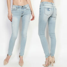 TheMogan Light Blue Distressed Washed Denim Low Rise Ankle Skinny Jeans