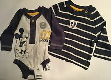 Baby Boys 2 piece Disney Mickey Mouse set. Long Sleeve Body Suit & T Shirt.