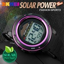 Man's Solar Powered Watch Date Alarm Light Waterproof Sports Digital Watch W3B4
