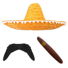 ORANGE MEXICAN SOMBRERO STRAW HAT ADD MOUSTACHE CIGAR BANDIT FANCY DRESS COSTUME