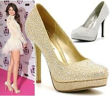 WOMENS GLITTER DIAMANTE HIGH HEEL PLATFORM BRIDAL WEDDING PROM PARTY SHOE SIZE