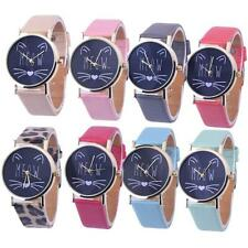 2016 Cat Pattern Leather Band Analog Quartz Vogue Girl's Women's Wrist Watch NEW
