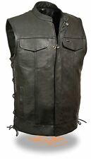 SOA Leather Vest w/ Side Lace, Zipper/Snap Front and 2 Inside Gun Pockets