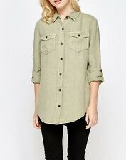 BN NEXT KHAKI/CAMEL LINEN SHIRT BLOUSE TOP TUNIC WITH POCKETS SIZE 6~20 RRP: £32