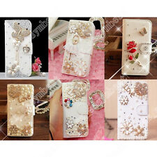 Cute Designs Rhinestone Bling Crystal Wallet PU Leather Case Cover For HTC Phone