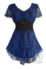Plus Size Black Blue Violet Printed Lace Sweetheart Corset Top 1X 2X 3X 4X 5X