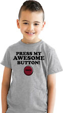 Youth Press My Awesome Button Funny Im Awesome T shirt for Kids (Grey)