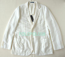 New $495 Polo Ralph Lauren Blazer Jacket Linen Cotton Ivory 40R
