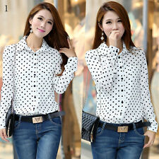 Beauty Tops Vintage Long Sleeve Blouses Chiffon Dotted Polo Shirt Womens T-shirt