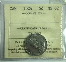 1924 Canadian Five Cent Coin ICCS Graded MS-62