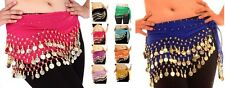 3 Rows Belly Dance Hip Wrap Scarf Skirt Belt Dancing Costume with Gold Coins bly