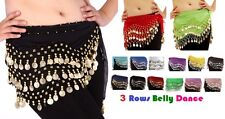 3 Rows Belly Dance Hip Scarf Wrap Belt Dancer Skirt Costume *bly