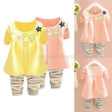 Hot Toddler Kids Child Girl Clothes Outfits Flower Blouse Tops+Stripe Long Pants
