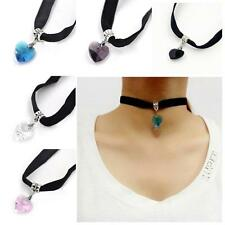 Girl's Crystal Heart Pendant Velvet Choker Necklace Collar Neck Band Decor